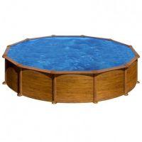 Piscina redonda Star Pool Gre imitación madera Ø 550x132