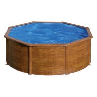 Piscina redonda Star Pool Gre imitación madera Ø 460 x 120 cm P460W