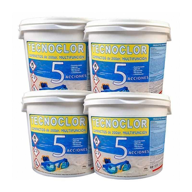Pack 4 seaux chlore en galets 5 fonctions, de 5 kgs./un. Tecnoclor