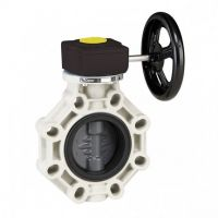 Válvula de mariposa serie industrial PVC de Ø 315 con eje en acero inoxidable EPDM con reductor de Cepex