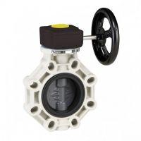 Válvula de mariposa serie industrial PVC de Ø 90 con eje en acero inoxidable FPM con reductor de Cepex