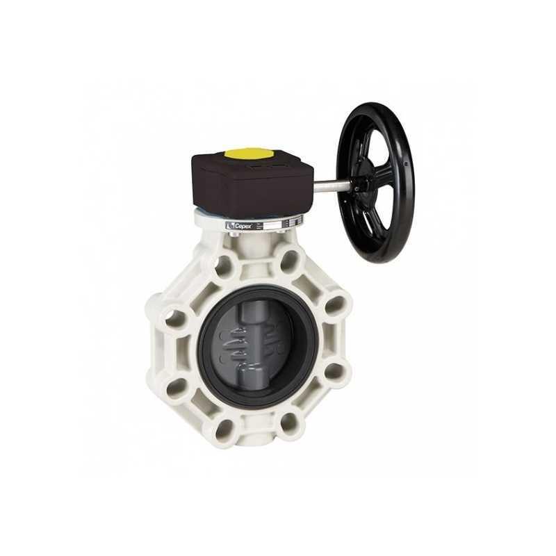 Válvula de mariposa serie industrial PVC de Ø 110 con eje en acero inoxidable FPM con reductor de Cepex