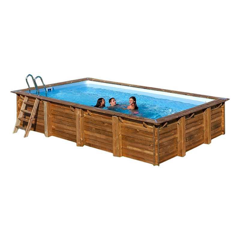 Piscina rectangular de madera Gre Sunbay Braga. 800x400x146 cm.