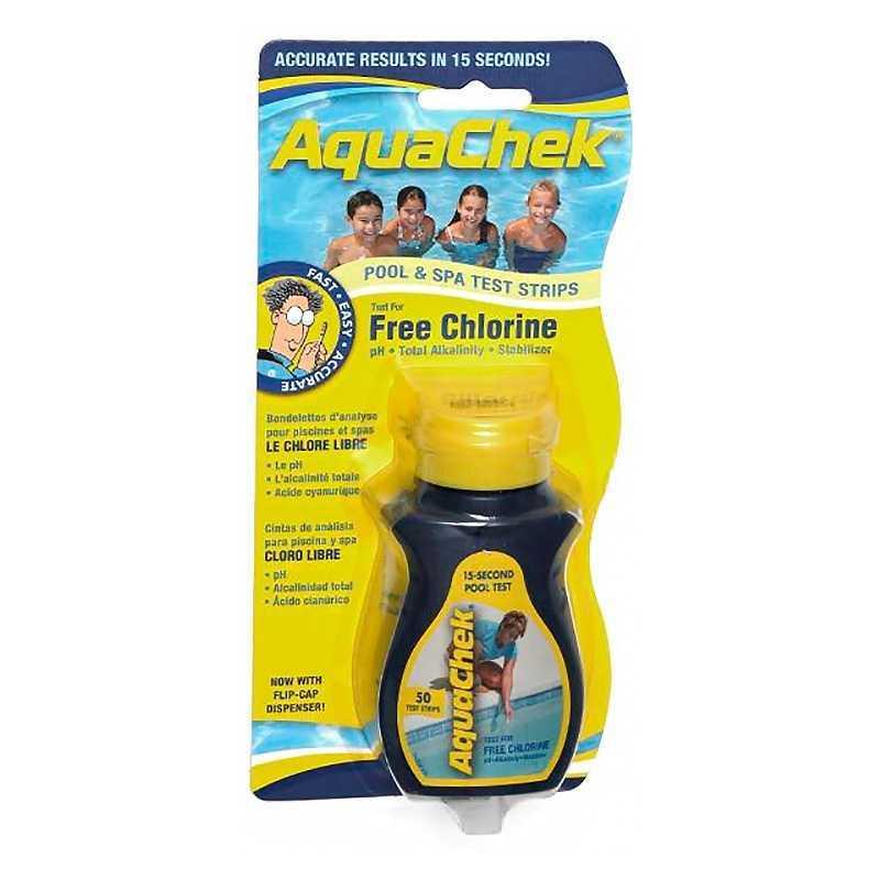 Bandelettes analyse chlore libre/pH/Alk/Cys Aquachek Yellow
