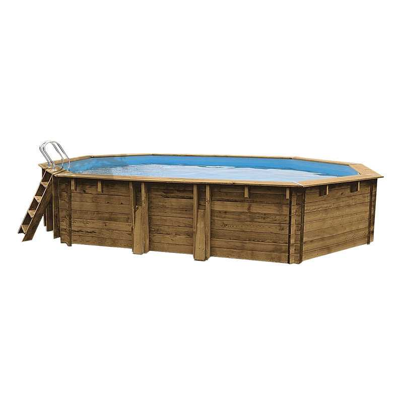 Piscina ovalada de madera Gre Sunbay Safran. 637x412x133 cm.