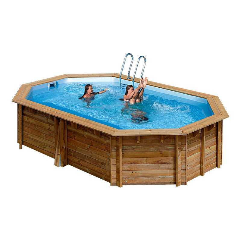 Piscina ovalada de madera Gre Sunbay Cannelle. 551x351x119 cm.