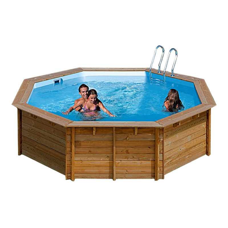 Piscina de madera redonda violette 511x124 cm 783333e de for Repuesto piscina gre
