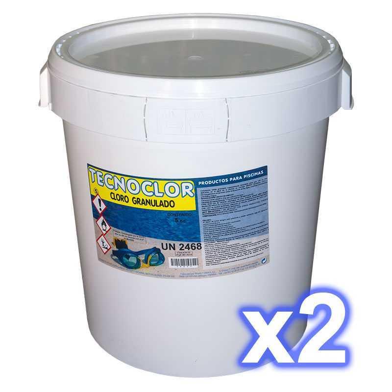 Pack 2 seaux chlore en galets multifonctions 25 kgs./seau Tecnoclor