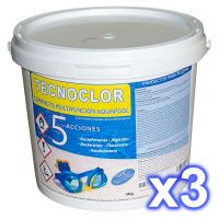 Pack de 3 cubos de cloro de cinco acciones 5 Kg c/u
