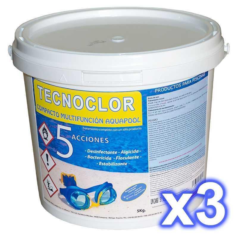 Pack 3 seaux chlore en galets 5 fonctions, de 5 kgs./un. Tecnoclor