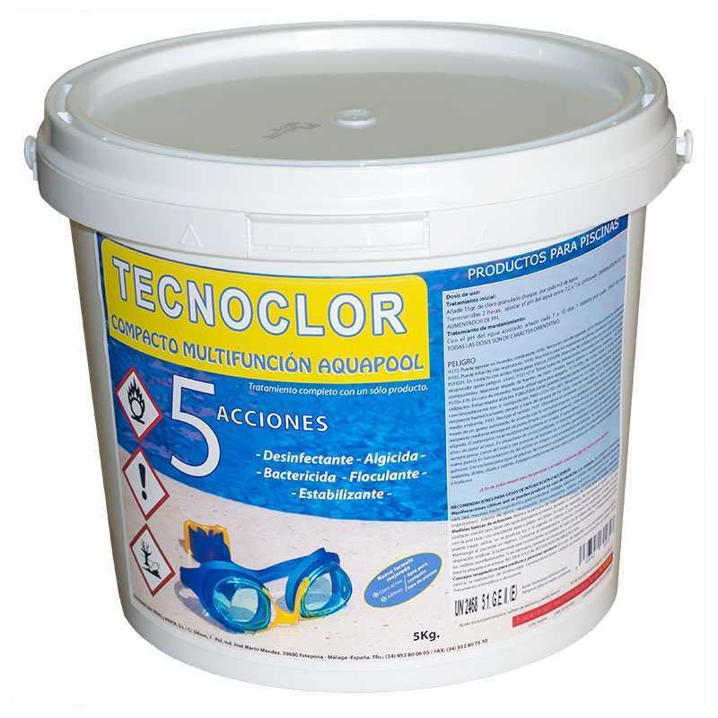 Chlore galets 5 kgs. 5 fonctions Tecnoclor