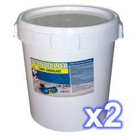 Pack 1 seau de chlore en galets multifonctions 25 kgs. + 1 seau de chlore en granulés 30 kgs.