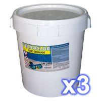 Pack 1 seau de chlore en galets multifonctions 25 kgs. + 2 seaux de chlore en granulés de 30 kgs. chacun