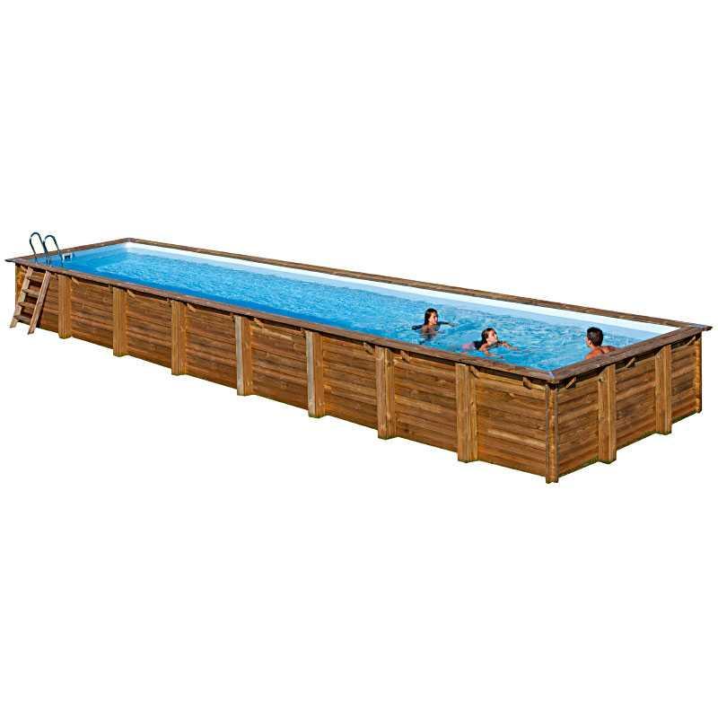 Piscina rectangular de madera Gre Sunbay Cardamon. 1218x427x146 cm.