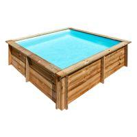 Piscina cuadrada de madera Gre Sunbay City. 225x225x68 cm.