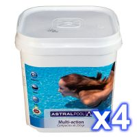 Pack 4 sceaux chlore galets multifonctions 250 gr. 5 kgs. Astralpool