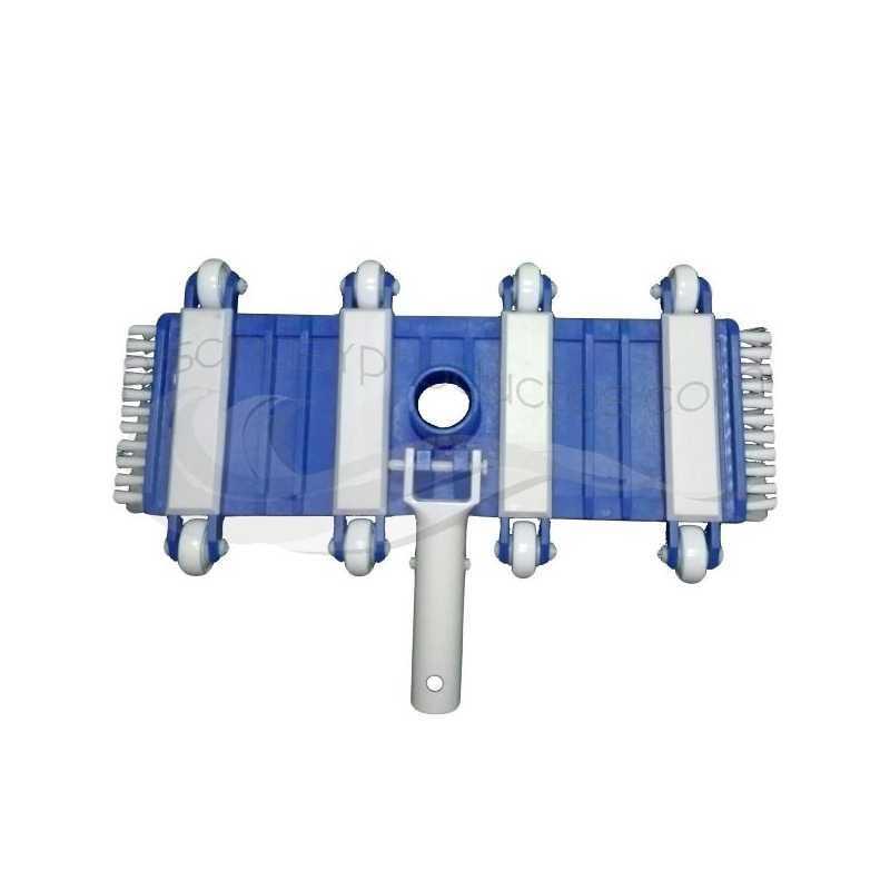 Tête balai flexible avec roues et brosses clip 35 cm.